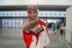 Das Kleid der chinesischen alten Frauen, im Shenzhen-internationalen Videofestival Lizenzfreies Stockbild