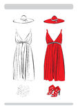 Das Kleid und die Schuhe Stockbild