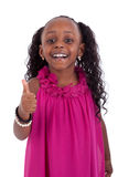 Das kleine Afroamerikanermädchen, das Daumen herstellt, up Geste - schwarzes PET Lizenzfreies Stockbild