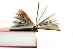 Das kleine geöffnete Buch legt auf großes Lehrbuch Stockbild
