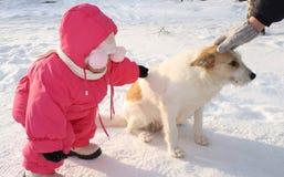 Das kleine Mädchen bügelt einen Hund Lizenzfreies Stockfoto