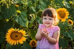 Das kleine Mädchen in den Sonnenblumen Stockbild