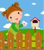 Das kleine Mädchen im Zeichen stock abbildung