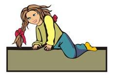 Das kleine Mädchen irgendwo geklettert Stockbild