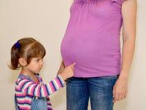 Das kleine Mädchen zeigt einen Finger auf einen Magen der schwangeren Mutter Stockfotografie
