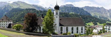 Das Kloster von Engelberg auf den Schweizer Alpen Stockfoto