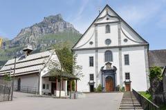 Das Kloster von Engelberg auf den Schweizer Alpen Stockbild