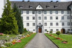 Das Kloster von Engelberg auf den Schweizer Alpen Lizenzfreies Stockfoto