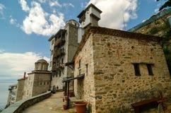 Das Kloster von Osiou Gregoriou, Mount Athos Stockfotos