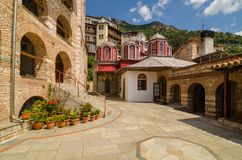 Das Kloster von Osiou Gregoriou, Mount Athos Stockbild