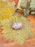 Das Kochen von dolma von den Traubenblättern, zerkleinern, Reis Lizenzfreie Stockfotografie