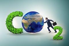 Das ?kologische Konzept von Treibhausgasemissionen stockfoto