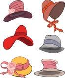 Das komplette Set der weiblichen Hüte Stockfoto