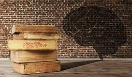 Das Konzept der Bildung Ein Stapel von alten Büchern wirft einen Schatten herein Stockbild