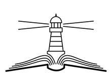 Das Konzept der Buchseiten und -leuchtturmes stockfotografie
