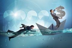 Das Konzept der Geschäftsmänner in Konkurrenz mit Haifisch lizenzfreie stockbilder