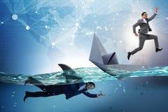 Das Konzept der Geschäftsmänner in Konkurrenz mit Haifisch stockbild