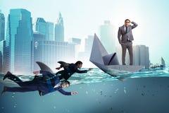 Das Konzept der Gesch?ftsm?nner in Konkurrenz mit Haifisch lizenzfreies stockbild