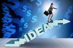 Das Konzept der Idee mit kletternder Schritttreppe der Geschäftsfrau Lizenzfreie Stockbilder