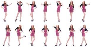 Das Konzept der jungen Frau in Mode auf Weiß Lizenzfreie Stockbilder