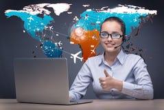 Das Konzept der on-line-Anmeldung mit busineswoman und Laptop stockfoto