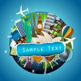 Das Konzept der Reise Berühmte Monumente der Welt Lizenzfreies Stockbild