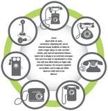 Das Konzept der Retro- Telefonikonen Lizenzfreies Stockbild