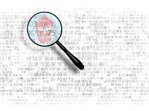Das Konzept der Suche im Hexadezimalcode, bösartiger Code Roter Text mit der Lupe getrennt auf weißem Hintergrund Ein Lupensuchen Lizenzfreie Stockfotografie