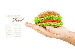 Das Konzept der ungesunden Diät, schädliches Lebensmittel, Übergewicht, Gewicht Stockfotografie
