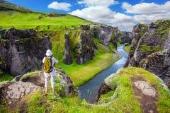 Das Konzept des aktiven Nordtourismus Stockfotografie