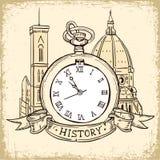 Das Konzept des Hintergrundes über die Geschichte, die Architekturkathedrale und die Taschen-Uhr in der Weinlese-Art Lizenzfreie Stockfotos