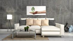 Das Konzept des umweltfreundlichen Innenraums Sofa, Tabelle, Lampe lizenzfreie abbildung