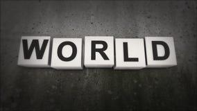 Das Konzept des Wortes WELT Was den Wortfrieden tut welt Stockfoto