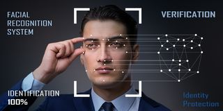 Das Konzept von Gesichtserkennungs-Software und -hardware lizenzfreie stockfotografie