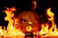 Das Konzept von Halloween Der schlechte schreckliche Kürbis brennt i Stockbilder