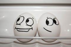 Das Konzept von Liebesbeziehungen Lustige Eier Stockbild