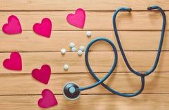 Das Konzept von Sorgfalt für das Herz Kardiologieausrüstung Abfertigung lizenzfreie stockbilder