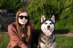 Das kreative Foto - moderner Blick eines Mädchens und des Schlittenhunds Stockfotos