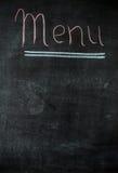 Das Kreidebrettmenü für eine Stange oder ein Café Die Zeichnung auf einer Tafel Stockfotos