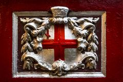Das Kreuz von St- Georgeinnere von Leadenhall-Markt, die Stadt, London, England, Vereinigtes Königreich, Europa stockbilder
