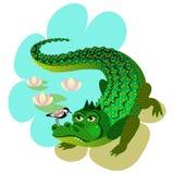 Das Krokodil und der kleine Vogel Stockbild
