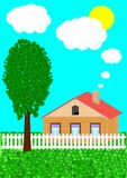 Das landwirtschaftliche Haus und der Baum Lizenzfreie Stockfotografie