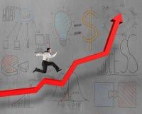 Das Laufen auf wachsendem rotem Pfeil mit Geschäft kritzelt Stockbild