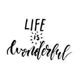 Das Leben ist - freihändige gezeichnetes kalligraphisches Design der Tinte Hand wunderbar lizenzfreie abbildung