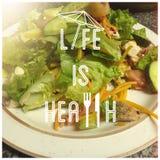 Das Leben ist gesunder grüner Salat Lizenzfreie Stockfotos