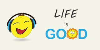 Das Leben ist gut Vektorillustration emoji Fahnenvektor mit emoji Überraschtes Gefühl, huh Gefühl lizenzfreie abbildung