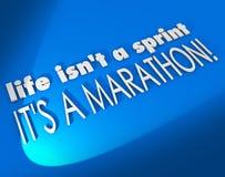 Das Leben ist kein Sprint, den es eine Marathon-Inspirations-Motivation Sayin ist Stockfotos
