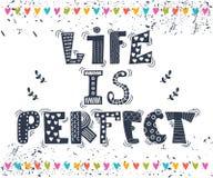 Das Leben ist perfekt Gezeichnetes Zitat der Inspiration Hand Nettes Grußauto Lizenzfreies Stockbild