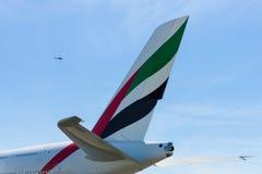Das Leitwerk eines größten Passagierpassagierflugzeugs in der Welt Airbus A380 Stockbilder