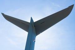 Das Leitwerk eines multinationalen viermotorigen Turboprop-Triebwerk Militär-Transportflugzeuges Airbus A400M Atlas Lizenzfreie Stockfotografie